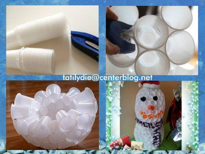 Bonhomme de neige en plastique - Faire un bonhomme de neige avec des gobelets ...